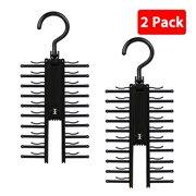 b3e7028d6c32 2-pack Adjustable Cross X Tie Rack Hanger Non-Slip Belt Compact Closet  Holder