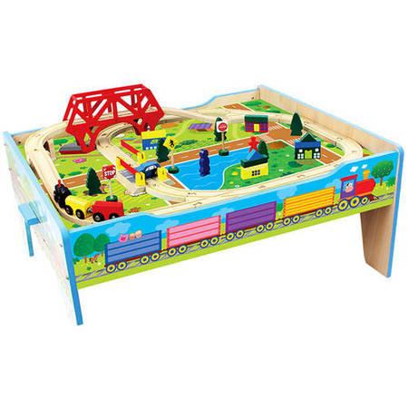 Wood Farm Train Table, 50-Piece](Personalized Train Table)