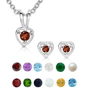1fb65d4f2 Molly and Emma Sterling Silver Children's Birthstone Heart Jewelry Set  May/Emerald
