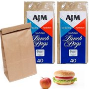 e2dd256aeb 80 Brown Paper Lunch Bags Snack Bags Kraft Paper Merchandise Grocery Party  Bags
