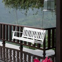 Better Homes and Gardens Delahey Outdoor Porch Swing, White, Seats 2