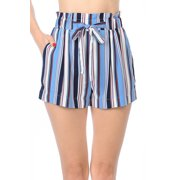 9ed91560522a Love Moda Women's Paper Bag Waist Tie-Front Belted Pull-On Woven Shorts (
