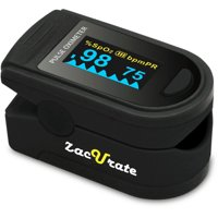 Zacurate Pro Series Deluxe 500D Fingertip Pulse Oximeter Blood Oxygen Saturation Monitor with Plethysmograph Feature, Silicon Cover, Lanyard and Batteries, Mystic Black