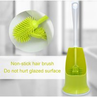 Blue Toilet Bowl Cleaning Brush and Caddy Set, TPR Enhanced Plastic Bristles with Durable Rim Lip Brush Head, Easy to Clean and Non-stick Hair, Hangable for Bathroom