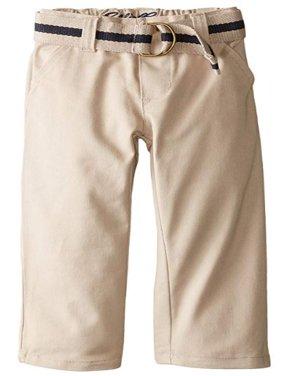 Boys Uniform Flat Front Brushed Twill Straight Leg Pant with Web Belt