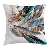 Feather House Decor Throw Pillow Cushion Cover, Vaned Types and Natal Contour Flight Feathers Animal Skin Element Print, Decorative Square Accent Pillow Case, 16 X 16 Inches, Teal Brown, by Ambesonne