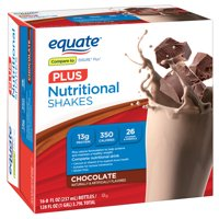Equate Nutritional Shake Plus, Chocolate, 8 Oz, 16 Ct