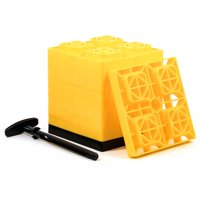 Camco 44512 Yellow FasTen Leveling Block with T-Handle, 2x2, Pack of 10