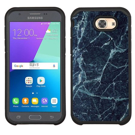 Hybrid Case for Samsung Galaxy J3 Luna Pro 4G LTE / J3 Eclipse, OneToughShield ® Dual Layer Shock Absorbing Phone Case (Black) - Marble / Blue