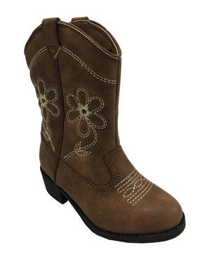 Wonder Nation Girls' Embroidered Flowers Cowboy Boot