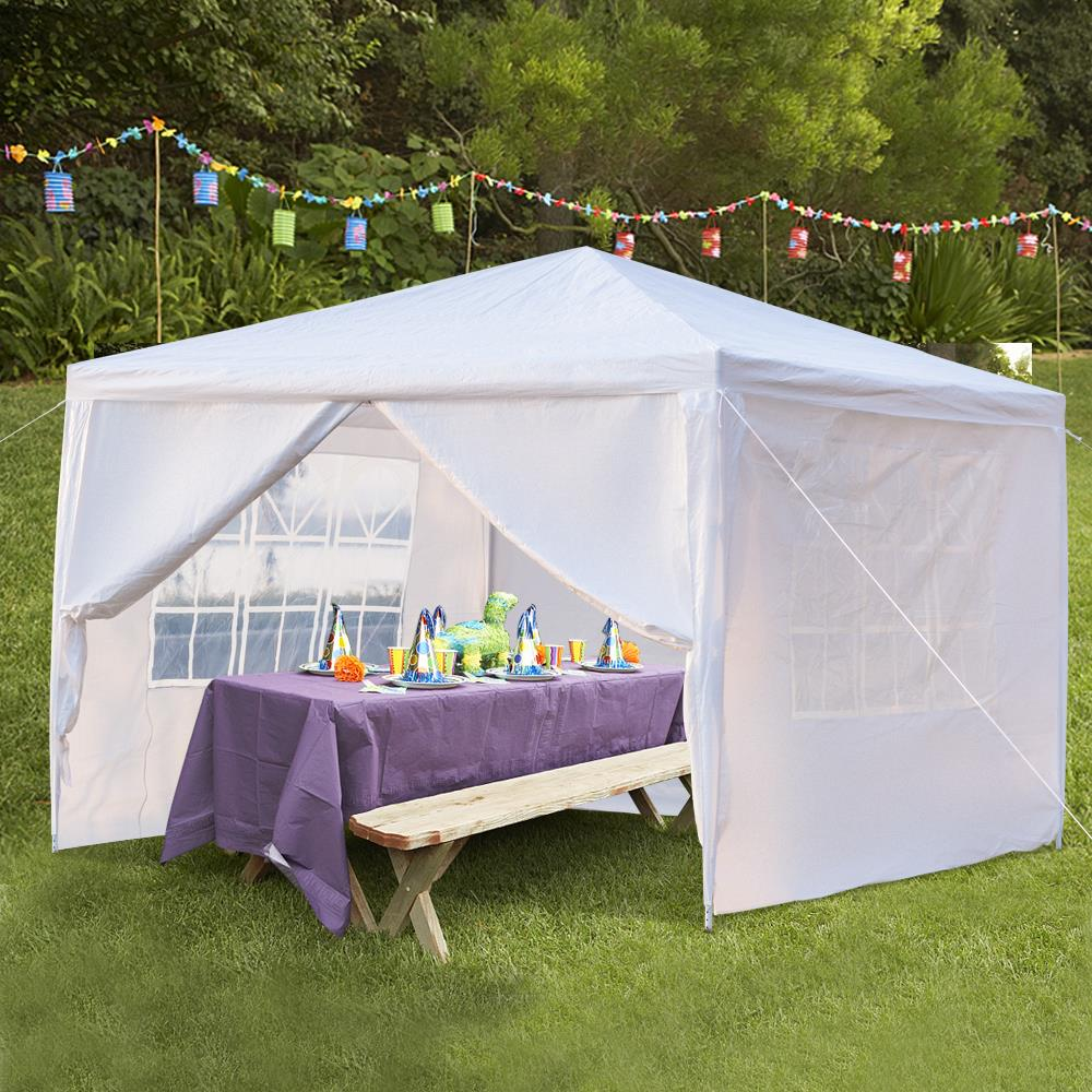 Ktaxon 10\u0027 x 10\u0027 Outdoor Canopy Party Wedding Tent White Gazebo Pavilion w/ & First Up Canopy Side Wall