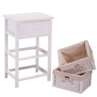 Jaxpety White Night Stand 3 Tiers 1 Drawer Bedside End Table Organizer Wood W/2 Baskets