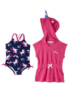 Unicorn Swimsuit & Coverup (Baby Girls & Toddler Girls)