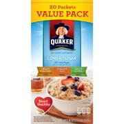 Quaker Instant Oatmeal Lower Sugar Variety Pack, 20 Packets