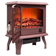 """AKDY FP0079 17"""" Freestanding Brown Portable Electric Fireplace Heater 2 Settings Red 3D Flames w/ Logs"""