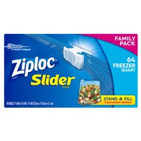Ziploc Slider Freezer Bags, Quart, 64 Ct
