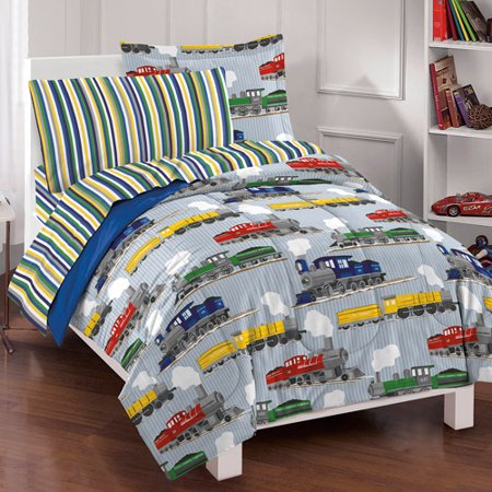 Train Bedding Sets (Dream Factory Trains Bed in a Bag Bedding Set, Blue )