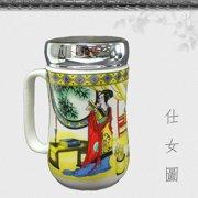 b4bb09cfb2 仕女圖 Ceramic Tea Cup Porcelain Coffee Mug for Latte Espresso Mocha Green  Black Tea Classic