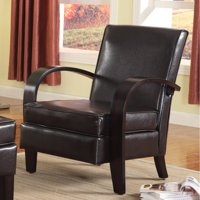 Roundhill Wonda Bonded Leather Accent Chair with Wood Arms, Multiple Colors Available