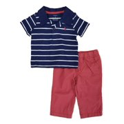 a6758902 Carters Infant Boys 2-Piece Navy Polo Shirt & Red Woven Pants Set