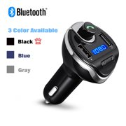 USB Car Bluetooth FM Radio Transmitter, Jelly Comb Wireless Bluetooth FM Transmitter Radio car auxiliary adapter Car Kit with Dual USB Charging Ports Hands Free Calling for iPhone,ipod, Samsung(Blue)