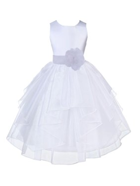 Ekidsbridal Shimmering Organza White Flower Girl Dress Weddings Handmade Summer Easter Dress Special Occasions Pageant Toddler Girl's Clothing Holiday Bridal Baptism 4613S size White 2