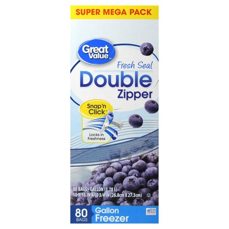 Great Value Double Zipper Freezer Bags, Gallon, 80 -