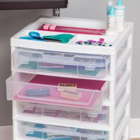 IRIS 6-Case Scrapbook Storage Cart, White