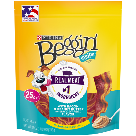 Training Treat Pouch - Purina Beggin' Strips Dog Training Treats, With Bacon & Peanut Butter Flavor - 25 oz. Pouch