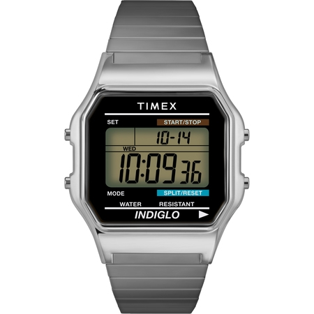 - Mens Classic Silver-Tone Case Bracelet New 80's Retro Digital Watch T78582