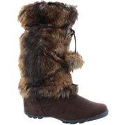 02068cfd1df96 Talia-Hi Women Mukluk Faux Fur Boot Mid Calf Winter Snow Brown