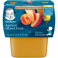 Gerber 2nd Foods Apricots Mixed Fruit Baby Food, 4 oz. Tubs, 2 Count (Pack of 8)