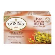 (4 Boxes) Twinings of London Pure Rooibos Red Herbal 20 ct Tea Bags 1.41 oz box