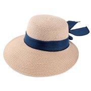 1ee2f162 Ladies Women Straw Bowknot Design Foldable Wide Brim Sun Cap Beach Hat Navy  Blue