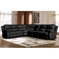 Classic Oversize and Overstuffed Corner Bonded Leather Sectional with 2 Reclining Seats