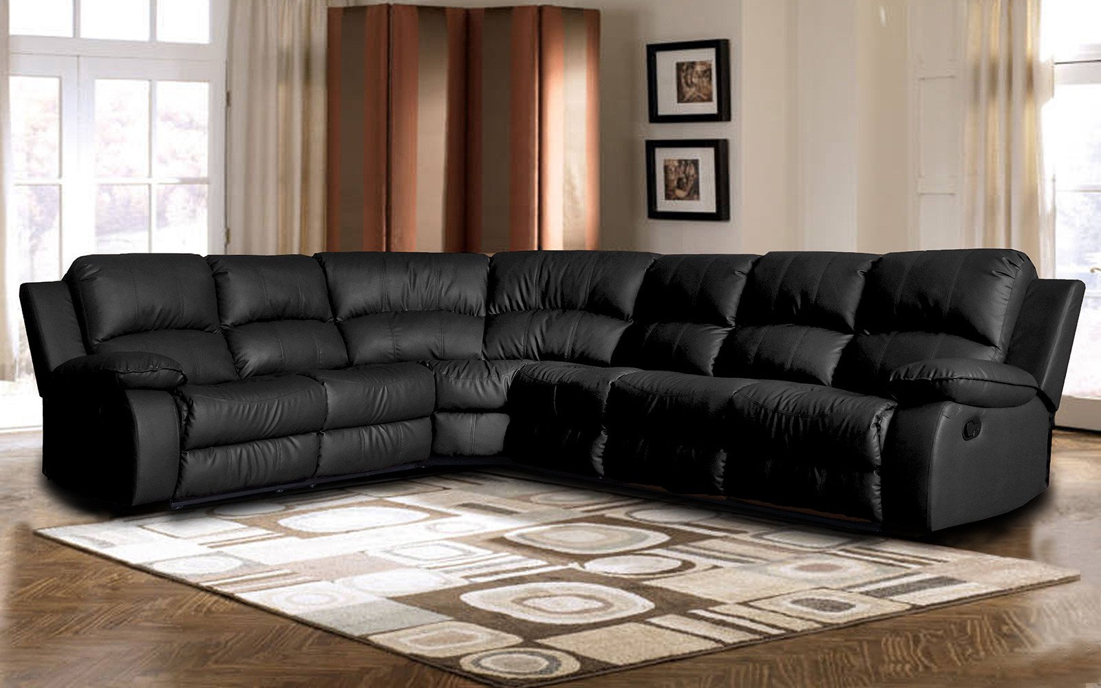 Swell Classic Oversize And Overstuffed Corner Bonded Leather Sectional With 2 Reclining Seats Customarchery Wood Chair Design Ideas Customarcherynet