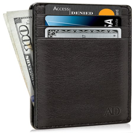 Slim Minimalist Wallets For Men & Women - Genuine Leather Credit Card Holder Front Pocket RFID Blocking Wallet With Gift