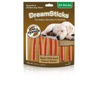 Dreambone Dreamsticks Dog Chew w/ Real Peanut Butter, 24-Count