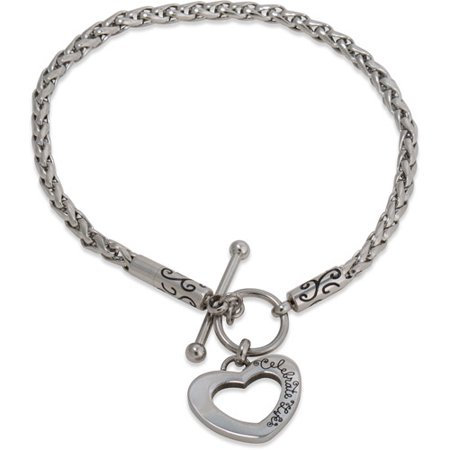 Stainless Steel Heart Toggle Starter Bracelet, (Tiffany Style Heart Toggle Bracelet)