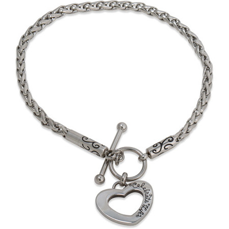 - Stainless Steel Heart Toggle Starter Bracelet, 7.25