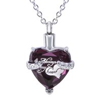 """Cremation Urn Necklace for Ashes """"With Beautiful Gift Box"""" Urn Pendant Memorial Keepsake Cremation Jewelry (Purple)"""