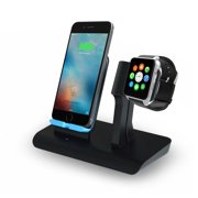 2 IN 1 Wireless Fast Charger Charging Pad Stand - iWatch Charging Holder for Apple Watch Series 4/3/2/1 - Nightlight Mode Available, Qi Wireless Charging Station Dock for iPhone X/iPhone XS/Galaxy S8