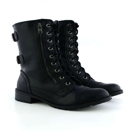 Soda Dome Mid Calf Height Women's Military / Combat Boots - Black Boots With Gold Trim