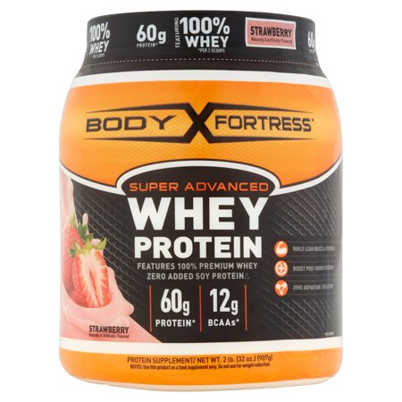 Protein Shake Mix - Body Fortress Super Advanced Whey Protein Powder, Strawberry, 60g Protein, 2 Lb
