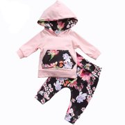 39f904a5 2PCS Baby Girls Floral Hoodie Outfits Long Sleeve Pocket Jumper Top with Pant  Clothing Set 0
