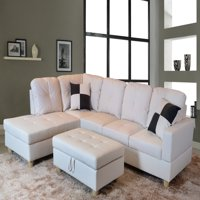 AYCP Furniture L-Shape Traditional Sectional Sofa Set with Ottoman, Left Hand Facing Chaise, Faux Leather Upholstery Material, White Color, More Colors&Styles Available