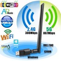 Wireless USB wifi Adapter, EEEKit 1200Mbps 2.4GHz/5GHz Dual Band WIFI Adapter 802.11AC Wireless USB 3.0 Network w/ Antenna for Computer PC Laptop Win XP/7/8/10,MAC,Linux