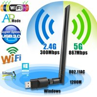 Wireless USB wifi Adapter, EEEKit 1200Mbps 2.4GHz/5GHz Dual Band WIFI Adapter 802.11AC Wireless USB 3.0 Network w/ Antenna for Computer PC Laptop Win XP/7/8/10,MAC,Linux