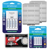 Panasonic eneloop (4) AA 2000mAh Pre-Charged NiMH Rechargeable Batteries & Charger + (4) AAA Batteries + (2) Battery Cases + Kit
