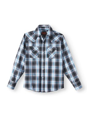 Plains Long Sleeve Western Plaid Button Up Shirt (Little Boys & Big Boys)